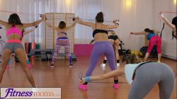 Fitness Rooms Young sweaty gym girls have lesbian threesome after workout