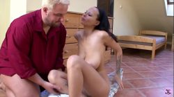 Slut with giant tits gets fucked by tubby